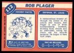 1968 Topps #112  Bob Plager  Back Thumbnail