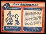 1968 Topps #83  John Brenneman  Back Thumbnail
