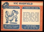 1968 Topps #74  Vic Hadfield  Back Thumbnail