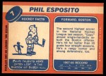 1968 Topps #7  Phil Esposito  Back Thumbnail