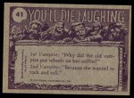 1973 Topps You'll Die Laughing #41   O Solo Mio Back Thumbnail
