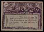 1973 Topps You'll Die Laughing #34   Who took my right guard? Back Thumbnail