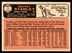 1966 Topps #198  Mickey Stanley  Back Thumbnail
