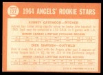 1964 Topps #127   -  Dick Simpson / Aubrey Gatewood Angels Rookies Back Thumbnail