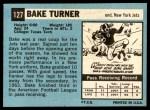 1964 Topps #127  Bake Turner  Back Thumbnail