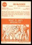1963 Topps #116  Jim McCusker  Back Thumbnail