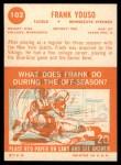 1963 Topps #102  Frank Youso  Back Thumbnail