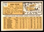 1963 Topps #179  Ron Piche  Back Thumbnail