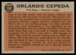 1962 Topps #390   -  Orlando Cepeda  All-Star Back Thumbnail