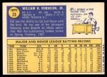 1970 Topps #23  Bill Robinson  Back Thumbnail