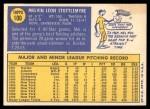 1970 Topps #100  Mel Stottlemyre  Back Thumbnail