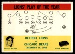 1964 Philadelphia #70   -  George Wilson Lions Play of the Year Front Thumbnail