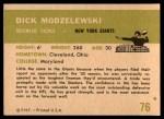 1961 Fleer #76  Dick Modzelewski  Back Thumbnail