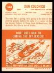 1963 Topps #144  Dan Colchico  Back Thumbnail