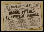 1961 Topps #410   -  Harvey Haddix Baseball Thrills Back Thumbnail