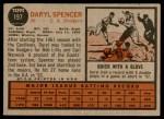 1962 Topps #197  Daryl Spencer  Back Thumbnail