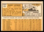 1963 Topps #426  Barry Latman  Back Thumbnail