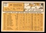 1963 Topps #411  Jim Constable  Back Thumbnail