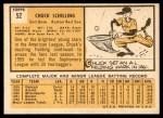 1963 Topps #52 COR Chuck Schilling  Back Thumbnail