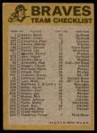 1974 Topps Red Checklist   -       Braves Red Team Checklist Back Thumbnail