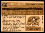 1960 Topps #393  Smoky Burgess  Back Thumbnail