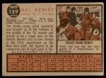 1962 Topps #139 POR Hal Reniff  Back Thumbnail