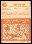 1963 Topps #164  Riley Mattson  Back Thumbnail