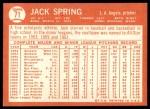 1964 Topps #71  Jack Spring  Back Thumbnail