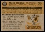1960 Topps #306  Frank Baumann  Back Thumbnail