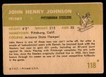 1961 Fleer #118  John Henry Johnson  Back Thumbnail