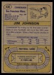 1974 Topps #430  Jimmy Johnson  Back Thumbnail