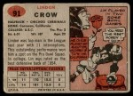 1957 Topps #91  Lindon Crow  Back Thumbnail
