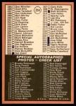 1969 Topps #214   Checklist 3 Back Thumbnail