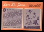 1970 Topps #33  Len St. Jean  Back Thumbnail