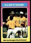 1975 Topps #466   -  Rollie Fingers / Reggie Jackson / Dick Williams 1974 World Series - Summary - A's Do it Again Front Thumbnail