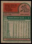 1975 Topps #400  Rich Allen  Back Thumbnail