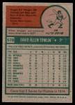 1975 Topps #578  Dave Tomlin  Back Thumbnail