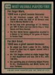 1975 Topps #198   -  Roger Maris / Dick Groat 1960 MVPs Back Thumbnail
