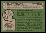 1978 Topps #497  Gary Fencik  Back Thumbnail