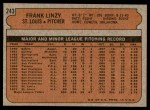 1972 Topps #243  Frank Linzy  Back Thumbnail