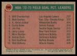 1973 Topps #155  Wilt Chamberlain / Matt Guokas / Kareem Abdul-Jabbar  Back Thumbnail