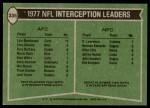 1978 Topps #335   -  Lyle Blackwood / Rolland Lawrence Interception Leaders Back Thumbnail