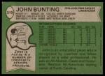 1978 Topps #319  John Bunting  Back Thumbnail