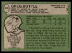 1978 Topps #382  Greg Buttle  Back Thumbnail