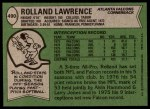 1978 Topps #490  Rolland Lawrence  Back Thumbnail