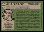 1978 Topps #406  Alan Page  Back Thumbnail