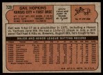 1972 Topps #728  Gail Hopkins  Back Thumbnail