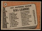 1972 Topps #87   -  Hank Aaron / Willie Stargell / Joe Torre NL RBI Leaders   Back Thumbnail