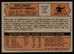 1972 Topps #449  Bob Lemon  Back Thumbnail