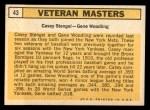 1963 Topps #43   -  Casey Stengel / Gene Woodling Veteran Masters   Back Thumbnail